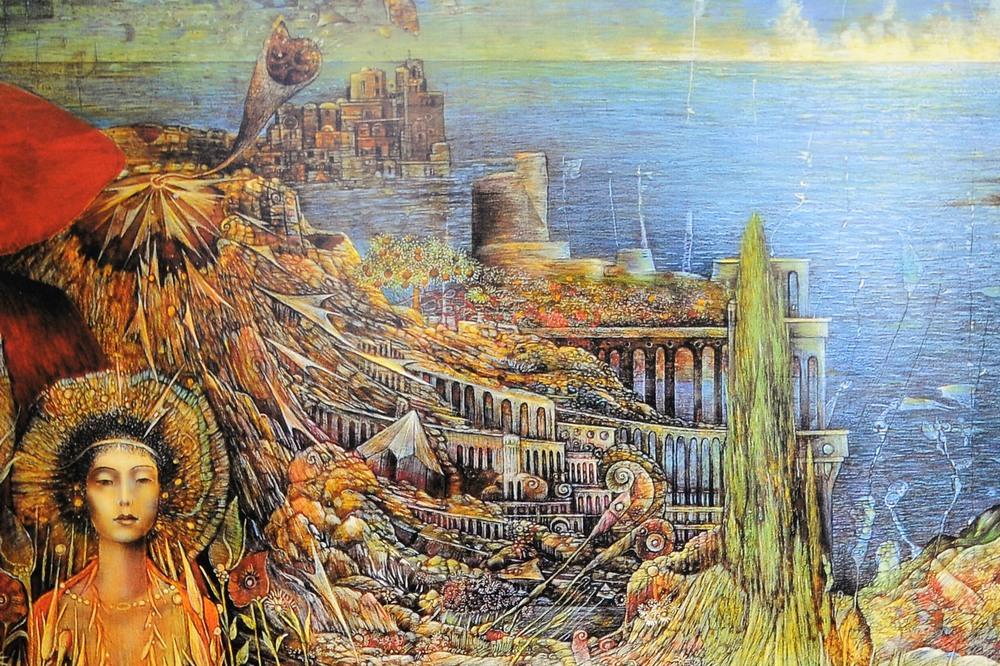 Detaljbild från suggestiv oljemålning.