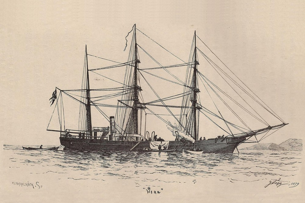 En teckning av fartyget Vega