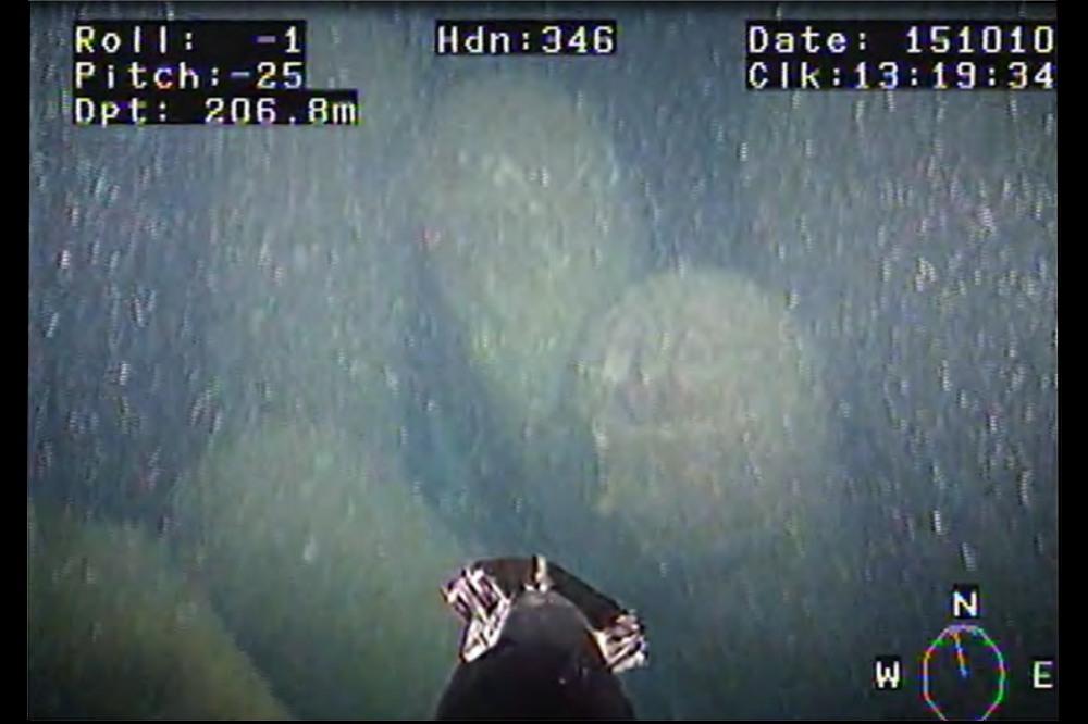 En bild från en undervattenskamera, som visar gamla sjunkbomber överväxta med alger.