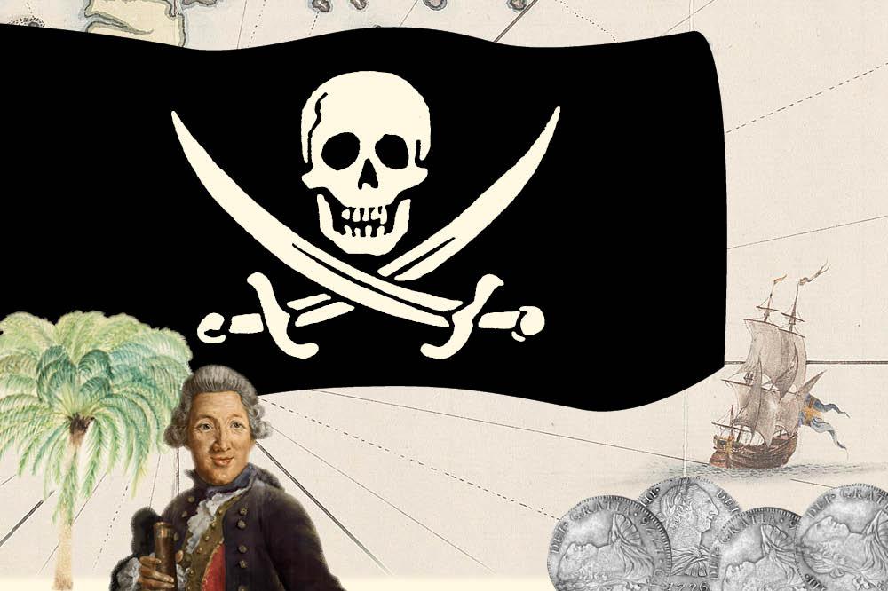 Framför en dödskalleflagga står en man klädd som en kapten från Ostindiska kompaniet.